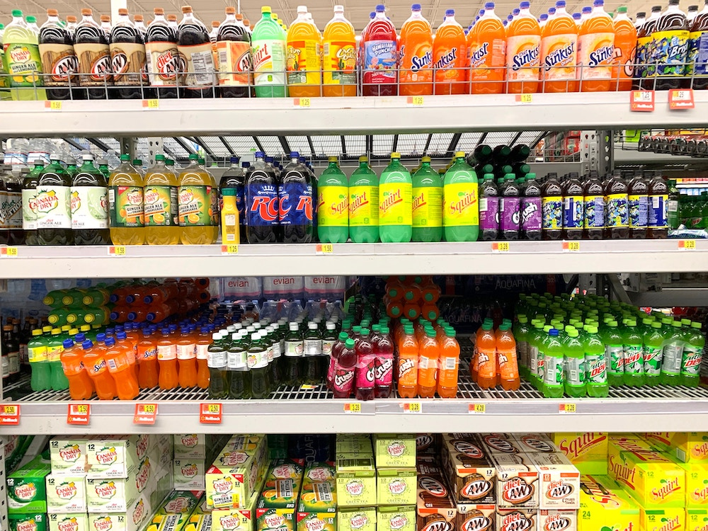 unhealthy food and beverages in grocery store