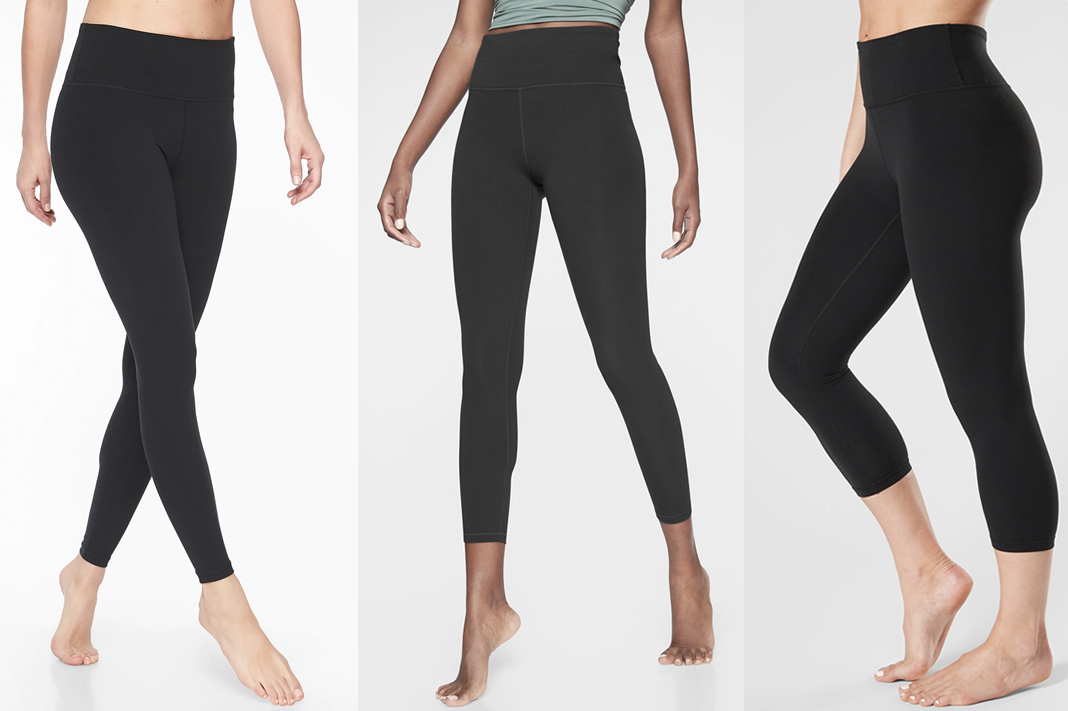 athleta elation tight in black powervita fabric