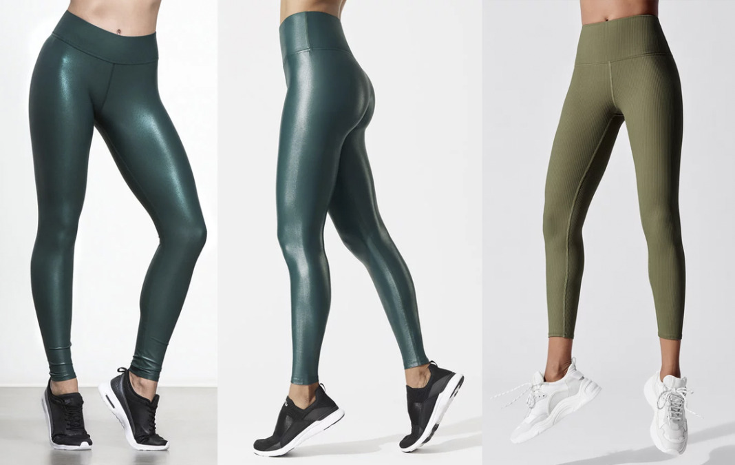 carbon38 green leggings emerald deep ocean and ribbed tights