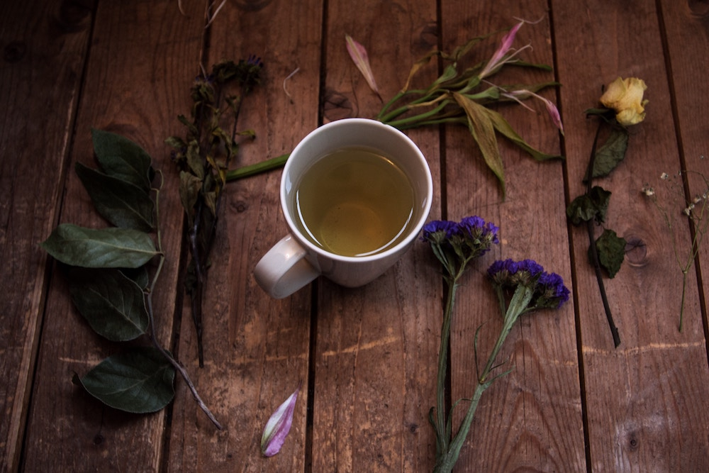 herbal tea in a cup to relax and sleep