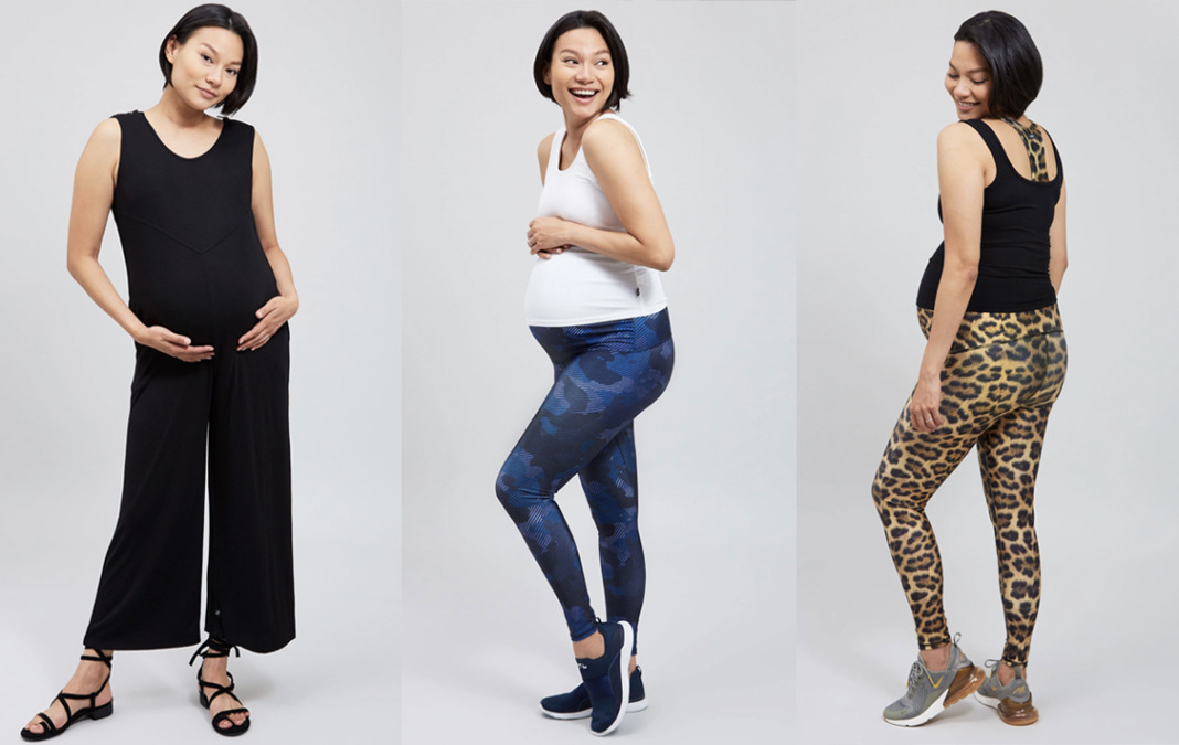 terez maternity leggings and jumpsuit in leopard and camo blue
