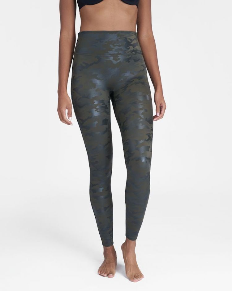 SPANX Faux Leather Leggings in Camo