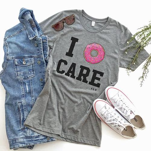alley and rae i donut care t-shirt grey