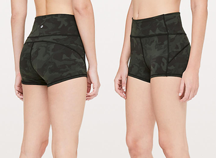 lululemon In Movement Shorts Incognito Camo Multi Gator Green ICMG