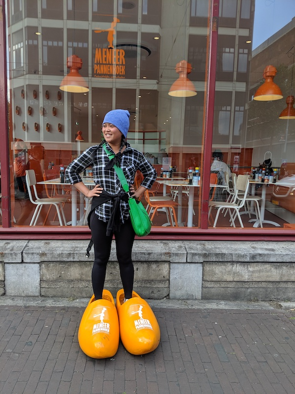 amsterdam netherlands wearing those big dutch wooden shoes