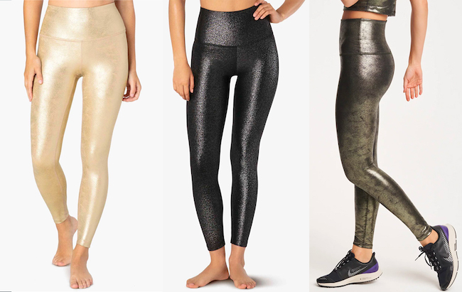 beyond yoga luxe leatherette holiday leggings