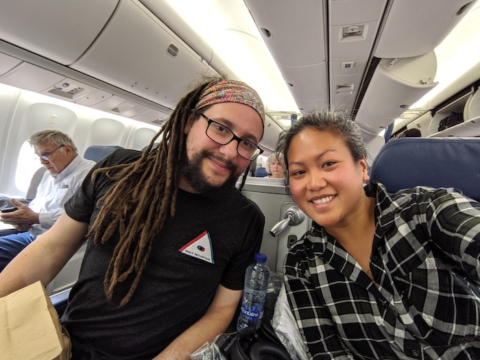 flying first class delta one schimiggy and larry