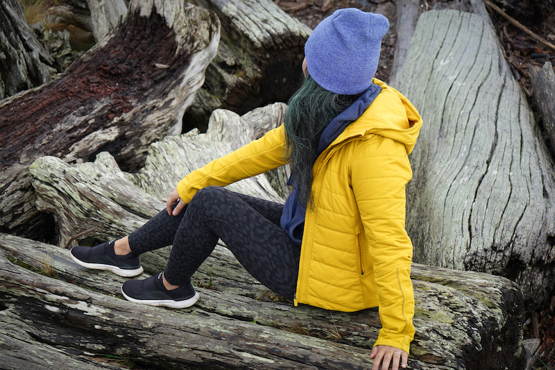 lululemon in movement tight review sitting on wood in vashon island