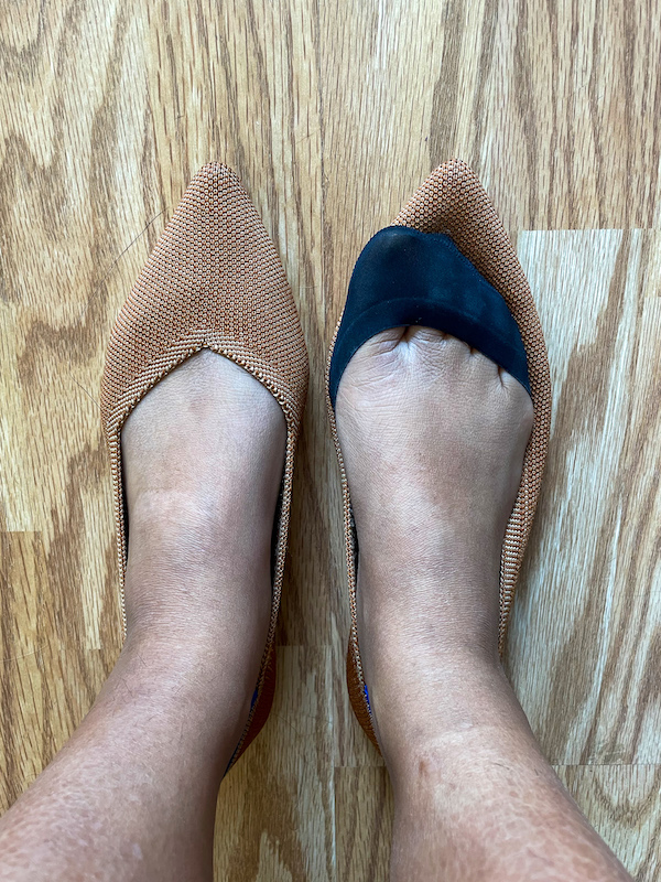 Sheec Socks review in and out of my Rothy's Points Shoes