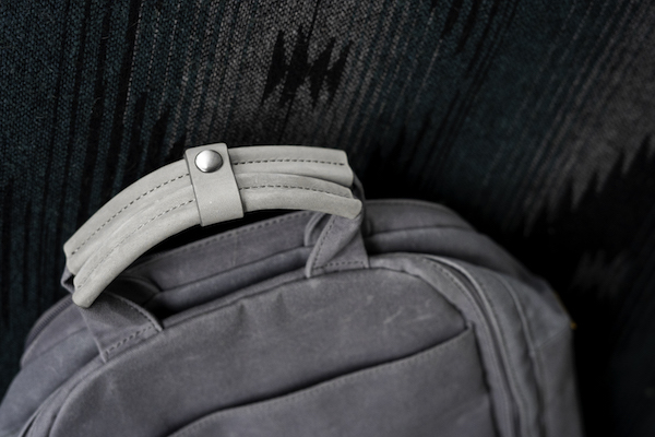 backpack top leather handles grey
