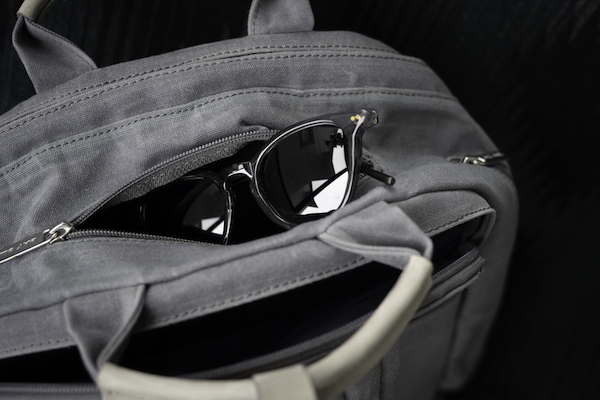 backpack top zipper pocket for sunglasses