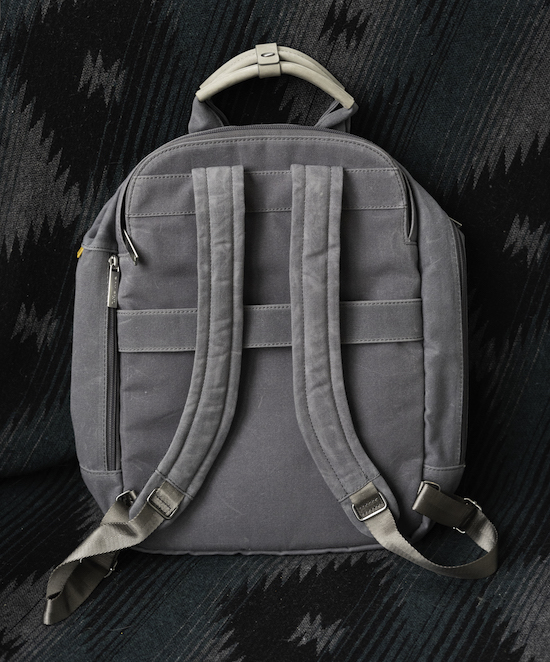 grey day owl backpack back view