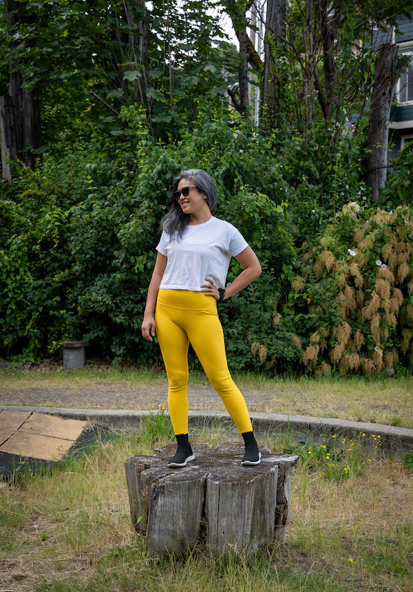 carbon38 ribbed legging in saffron with lululemon cates crop top