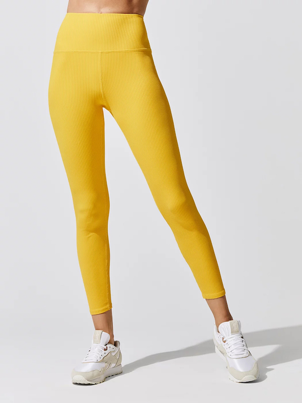 carbon38 ribbed legging in saffron yellow