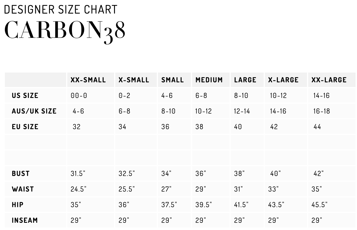 carbon38 size chart womens