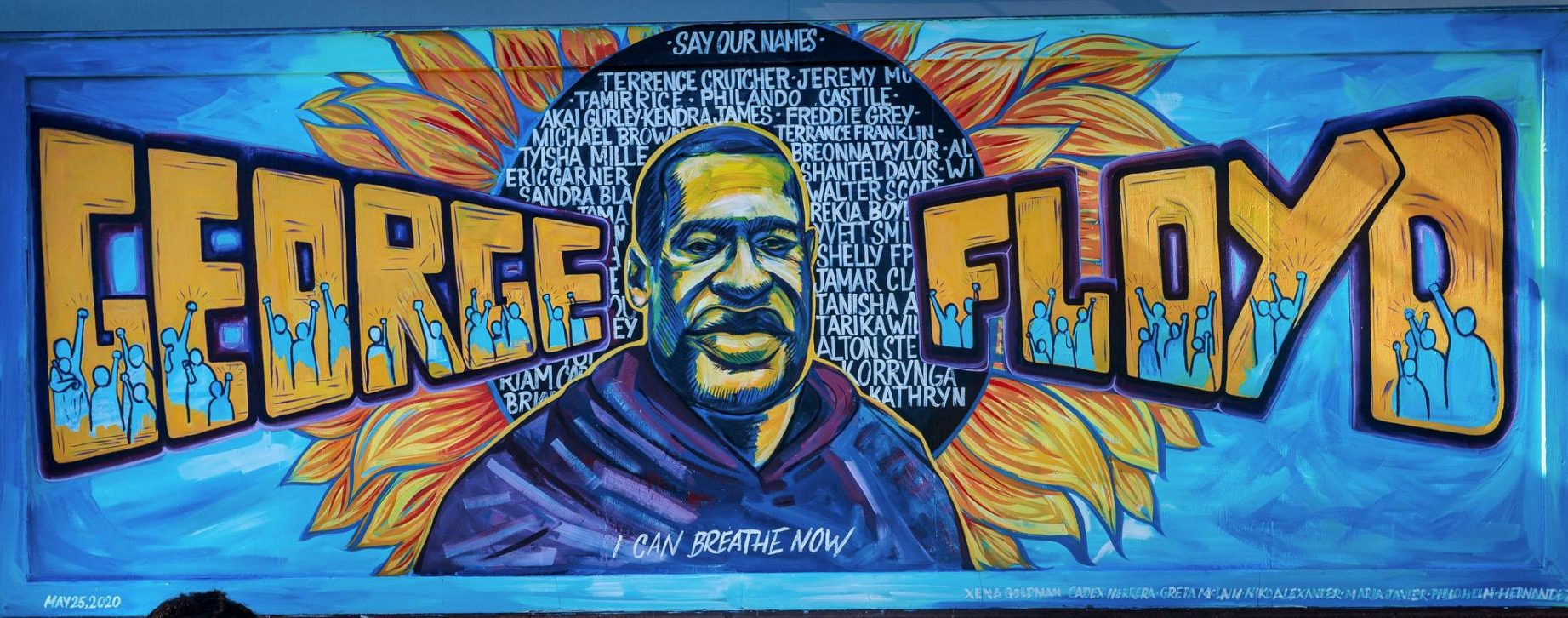 george floyd mural artwork in Minneapolis black justice and equality