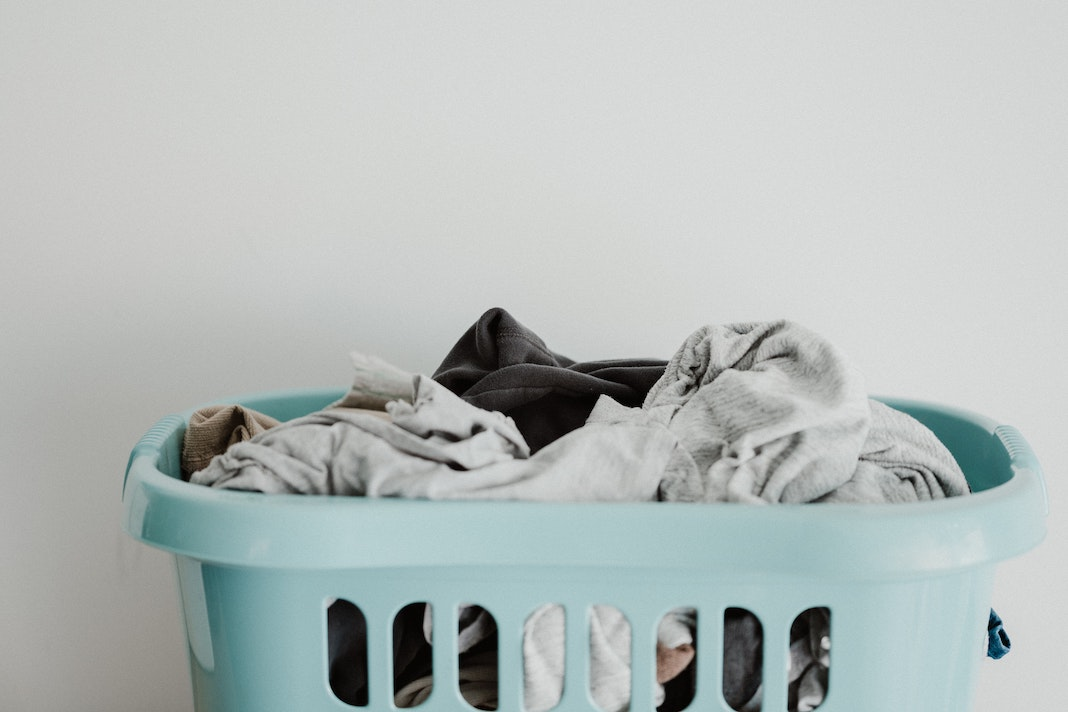 laundry basket with dirty clothes
