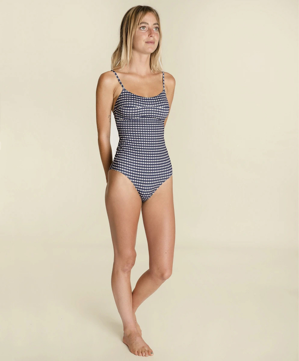 outerknown seea cleo one piece swimsuit blue gingham