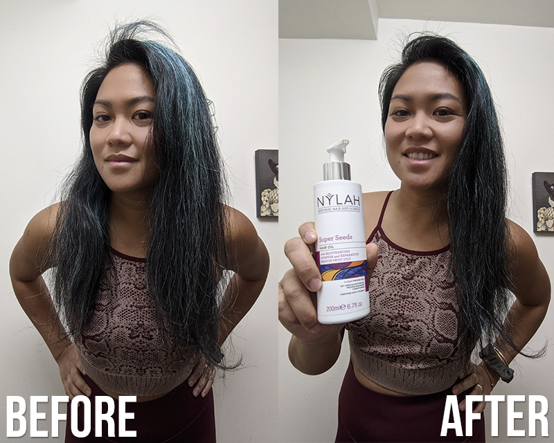 Nylah Use hair oil to tame flyaways and frizzy hair