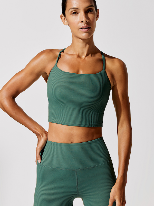 Carbon38 Ribbed Cami Evergreen