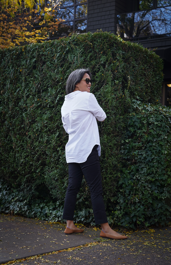 KOTN Review Oversized Oxford Shirt Slim Trousers back