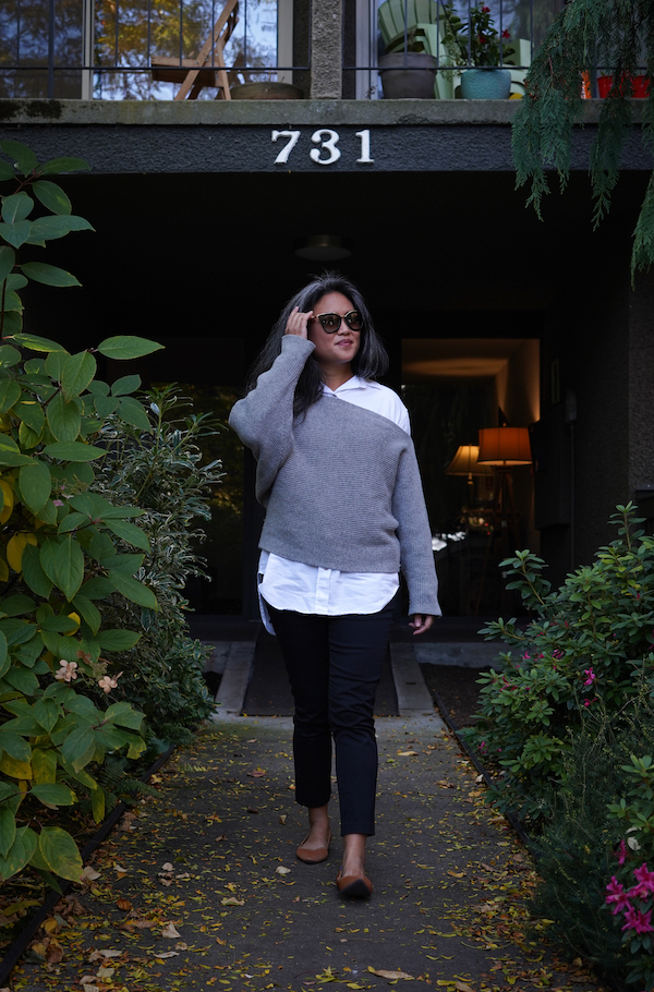 KOTN Review Oversized Oxford Shirt Slim Trousers with sweater walking