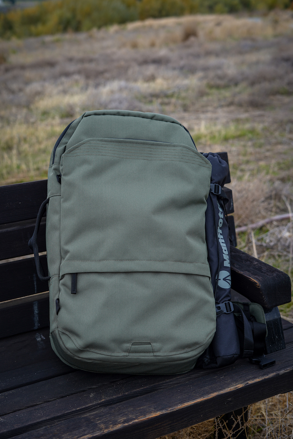 PAKT Backpack review on bench