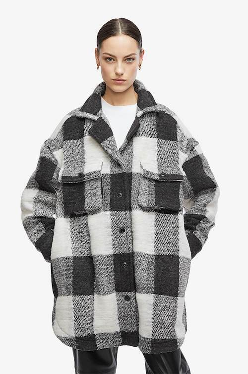 Anine Bing Maeve Jacket plaid wool shacket