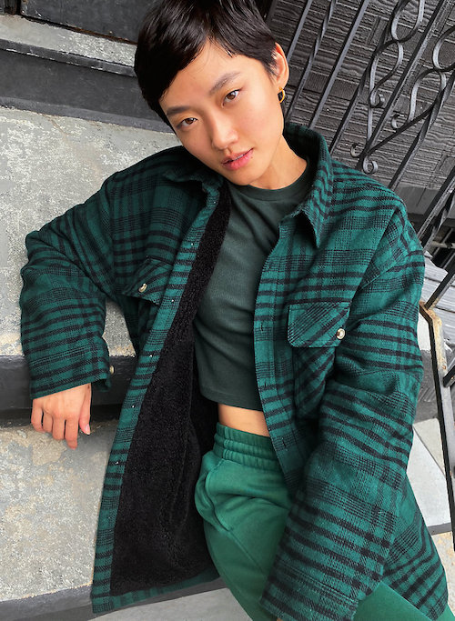 Aritzia Prospect Shirt Jacket Shacket Green Plaid