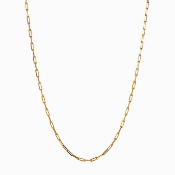 Awe Inspired Delicate Paperclip Necklace Gold