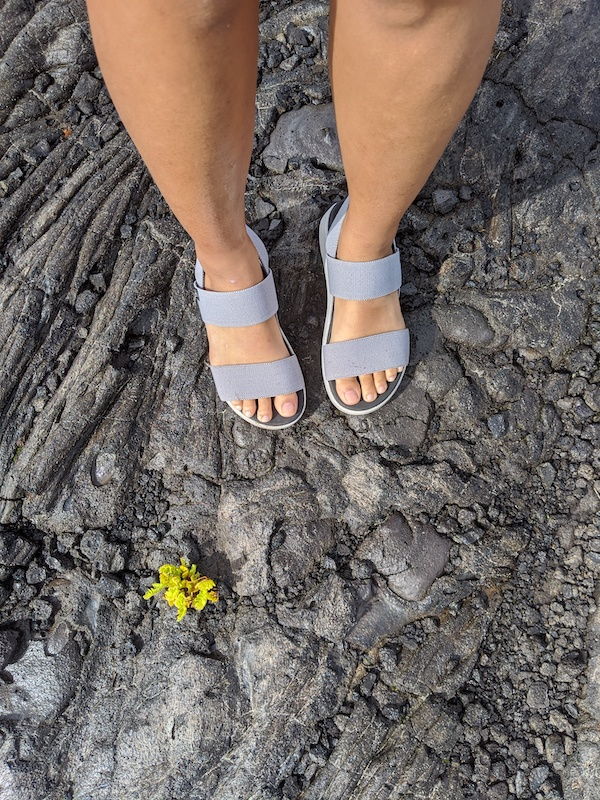 Keen Hiking Sandals on Hawaiian pahoehoe lava