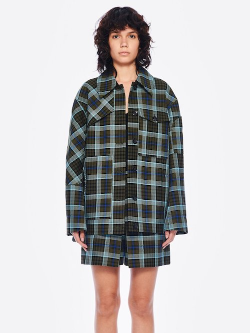 Tibi Spencer Plaid Shirt Jacket Shacket