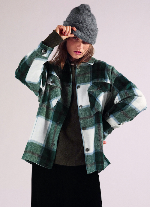 Zara Shacket Green Plaid Wool