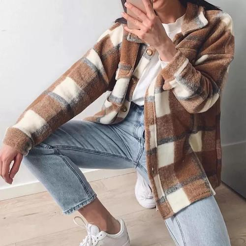 mocha brown oversized shirt jacket shacket