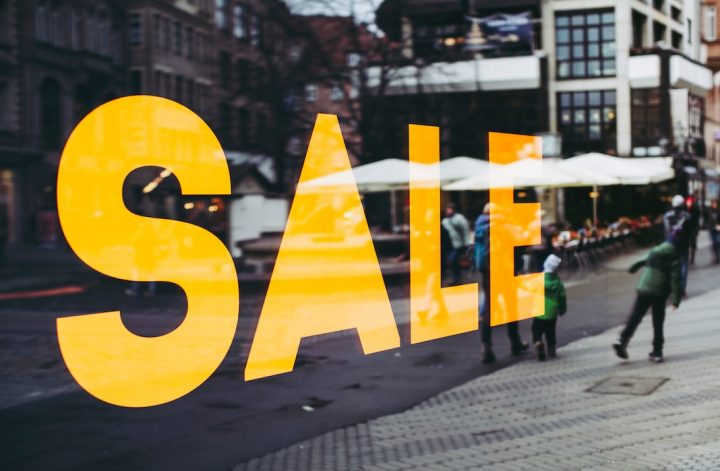 sale sign on a retail store black friday