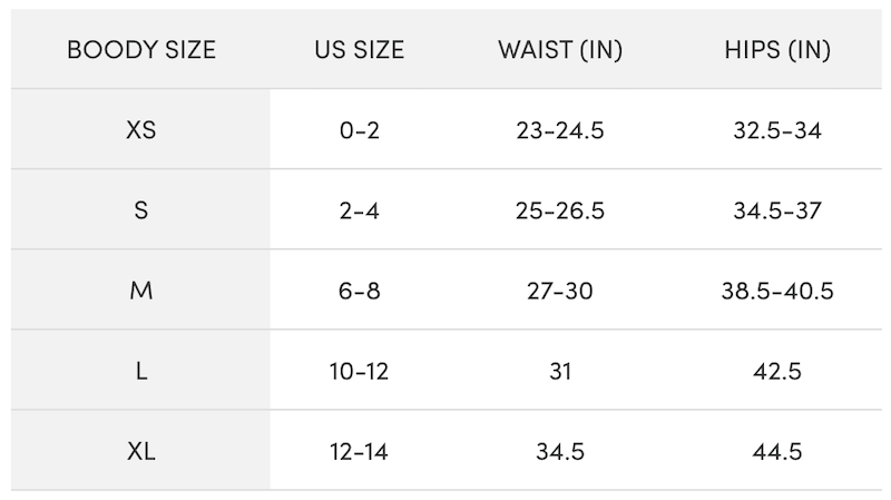 Boody Size Chart for Leggings