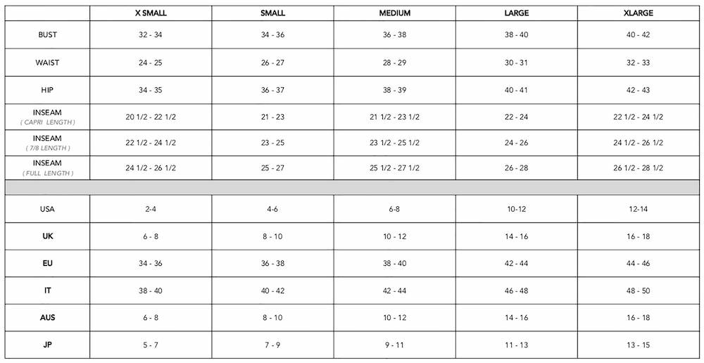 Electric and Rose Size Chart Womens