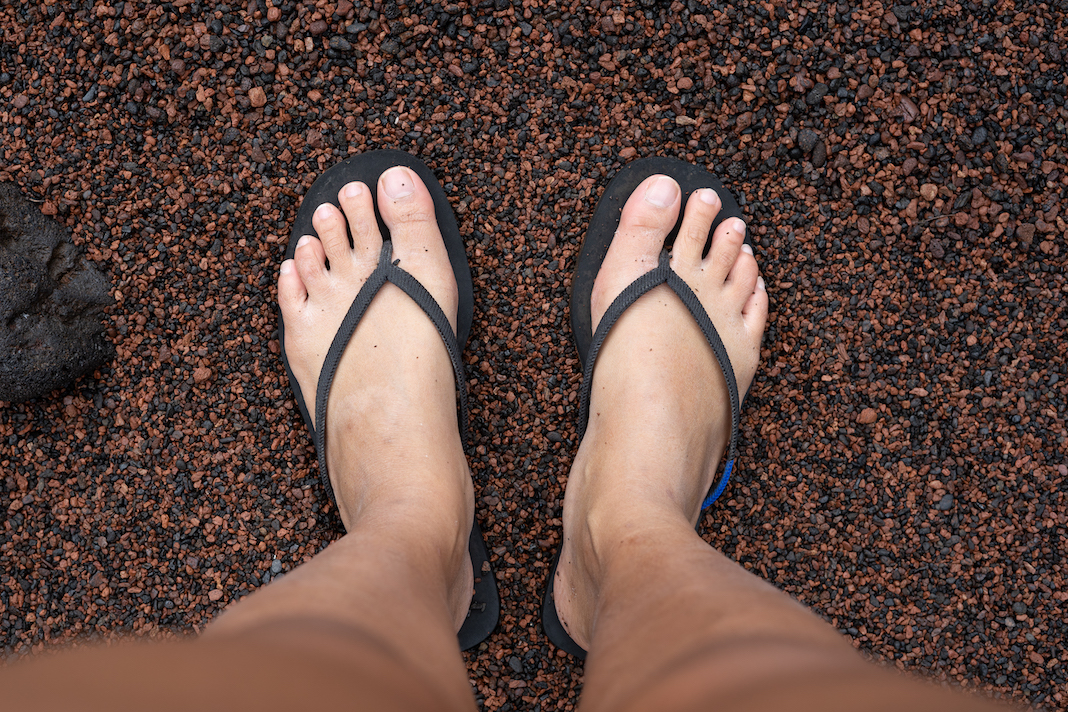 Rothy's sandals on the Road to Hana Maui Red Sand Beach