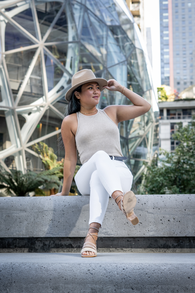 everlane review summer outfit white jeans nude tank and alohas letizia sandals