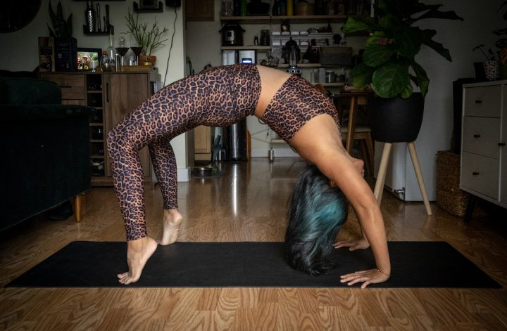 Wear It to Heart Leopard Leggings wheel pose Urdhva Dhanurasana yoga