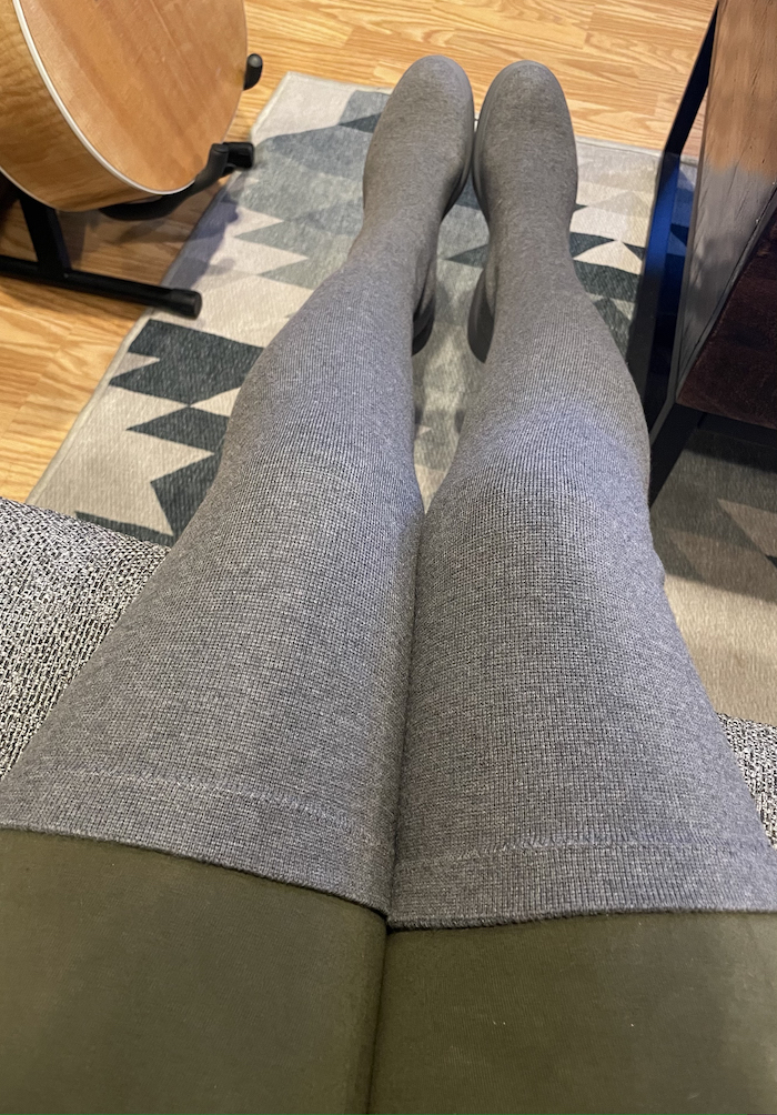 VIVAIA Charley thigh high boots with Electric and Rose cotton leggings