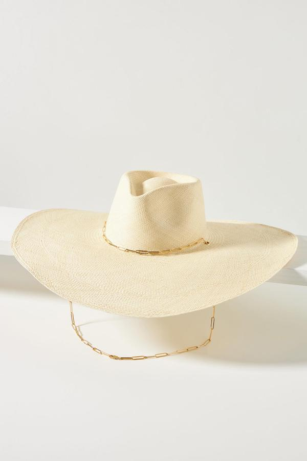 Anthropologie Livy Sun Hat with Gold Chain