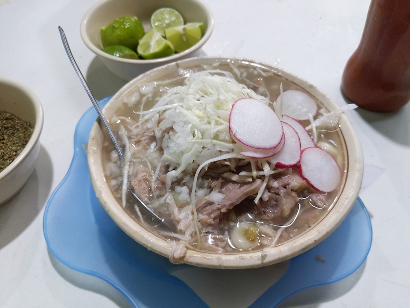 Pozole surtidos pork soup in Barrio Tepito