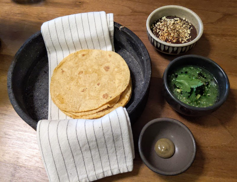 Quintonil Tortilla Appetizer with Salsas
