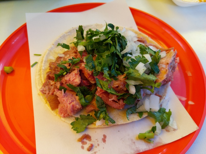 carnitas tacos from the carnitas taco man in tepito