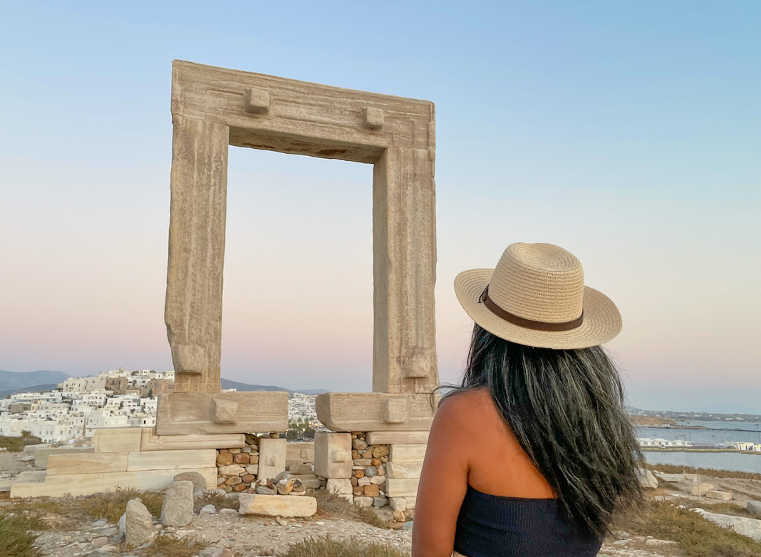 temple of Apollo in Naxos Greece after sunset