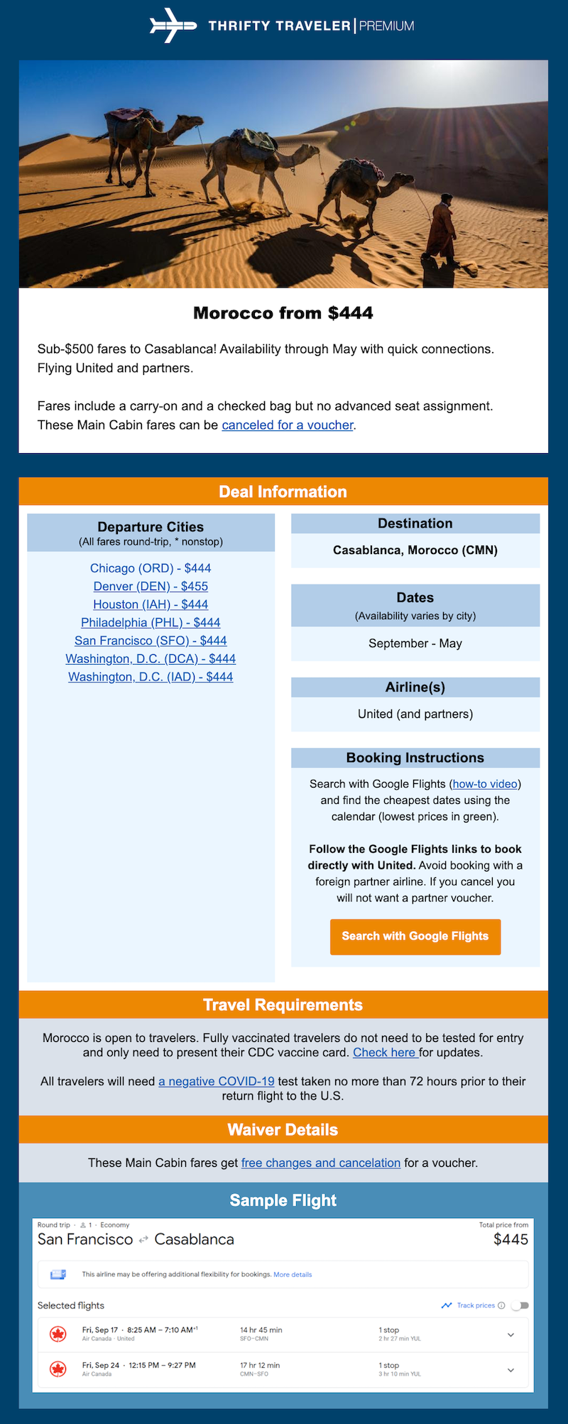Thrifty Traveler flight deal e-mail example Morocco
