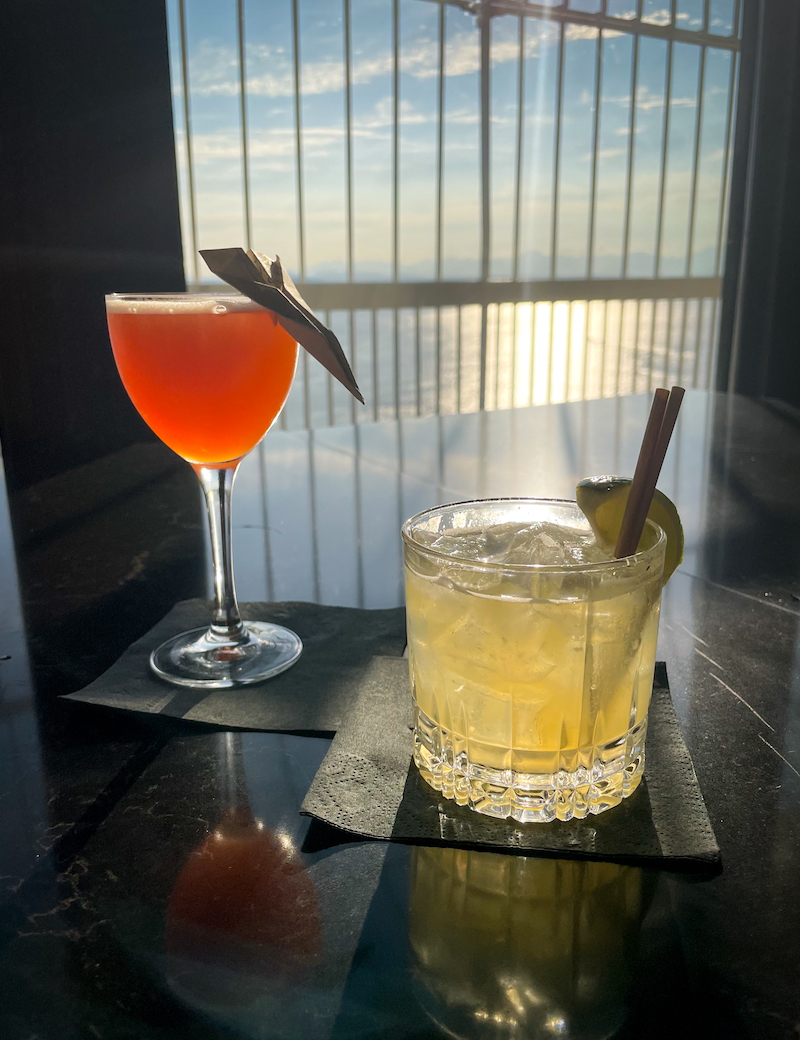 paper plane cocktail from Smith Tower Seattle
