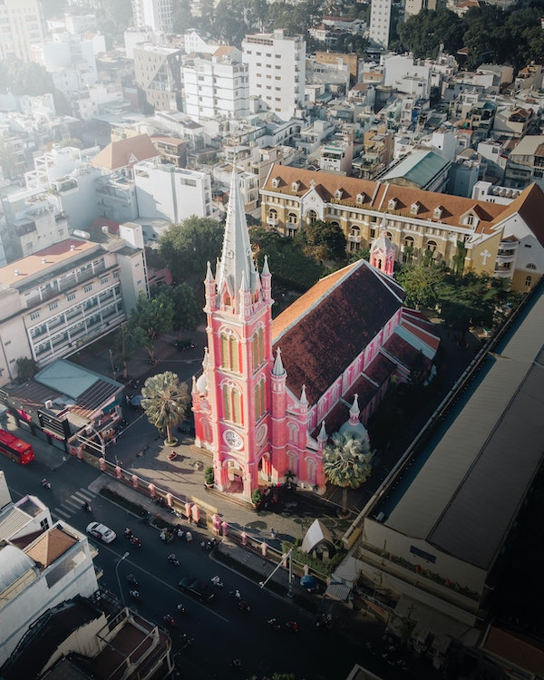 aerial view of Notre Dame Cathedral in Saigon ho chi minh city Vietnam
